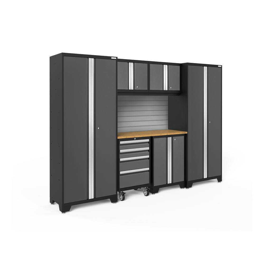 Bold Series 108 in. W x 76.75 in. H x 18 in. D 24-Gauge Steel Garage Cabinet Set in Gray (7-Piece)