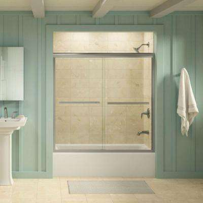 Gradient 59-5/8 in. x 58-1/16 in. Semi-Frameless Sliding Tub Door in Matte Nickel