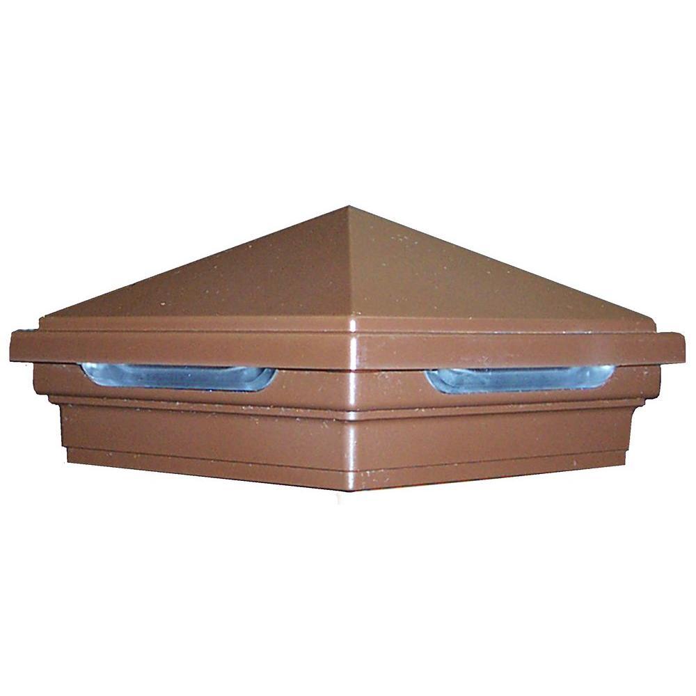 DeckLighting 4 in. x 4 in. Vintage Lantern LED Pyramid Post Sleeve Cap Light
