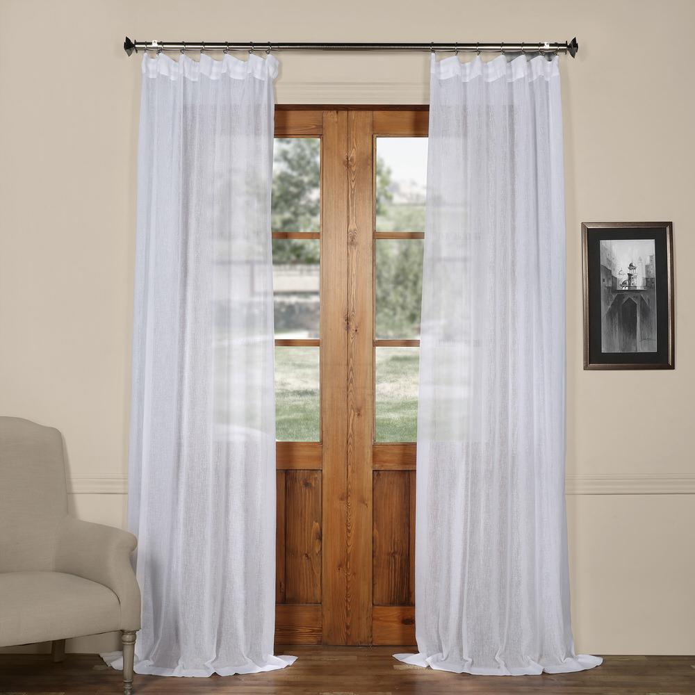 Aspen White Solid Faux Linen Sheer Curtain - 50 in. W x 96 in. L