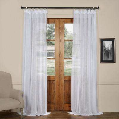 Aspen White Solid Faux Linen Sheer Curtain - 50 in. W x 96 in. L