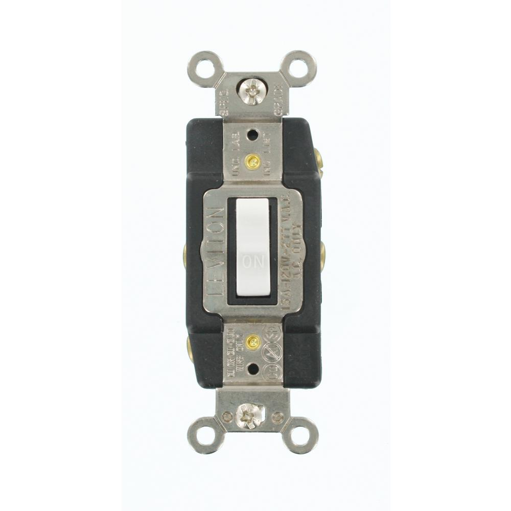 Leviton 15 Amp Industrial Grade Heavy Duty Double-Pole Double-Throw Center-Off Maintained Contact Toggle Switch, White