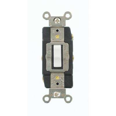 15 Amp Industrial Grade Heavy Duty Double-Pole Double-Throw Center-Off Maintained Contact Toggle Switch, White
