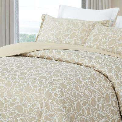 Luxurious Cotton Duvet Cover Mini Set King Size in Light Taupe