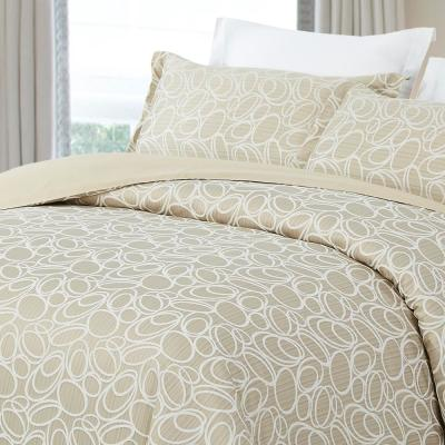 Luxurious 3-Piece Taupe Circle Queen Duvet Cover Set