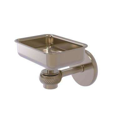Satellite Orbit One Wall Mounted Soap Dish with Twisted Accents in Antique Pewter
