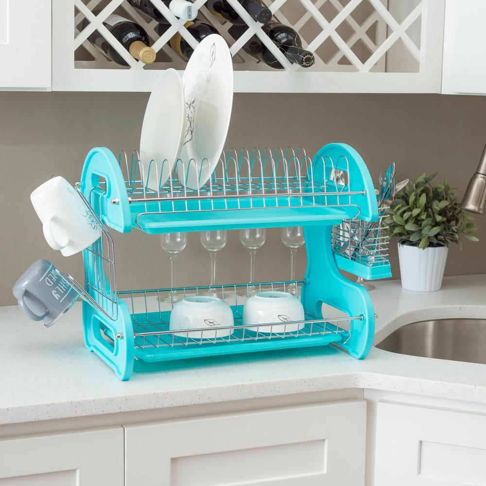 Turquoise 2-Tier Plastic Dish Rack