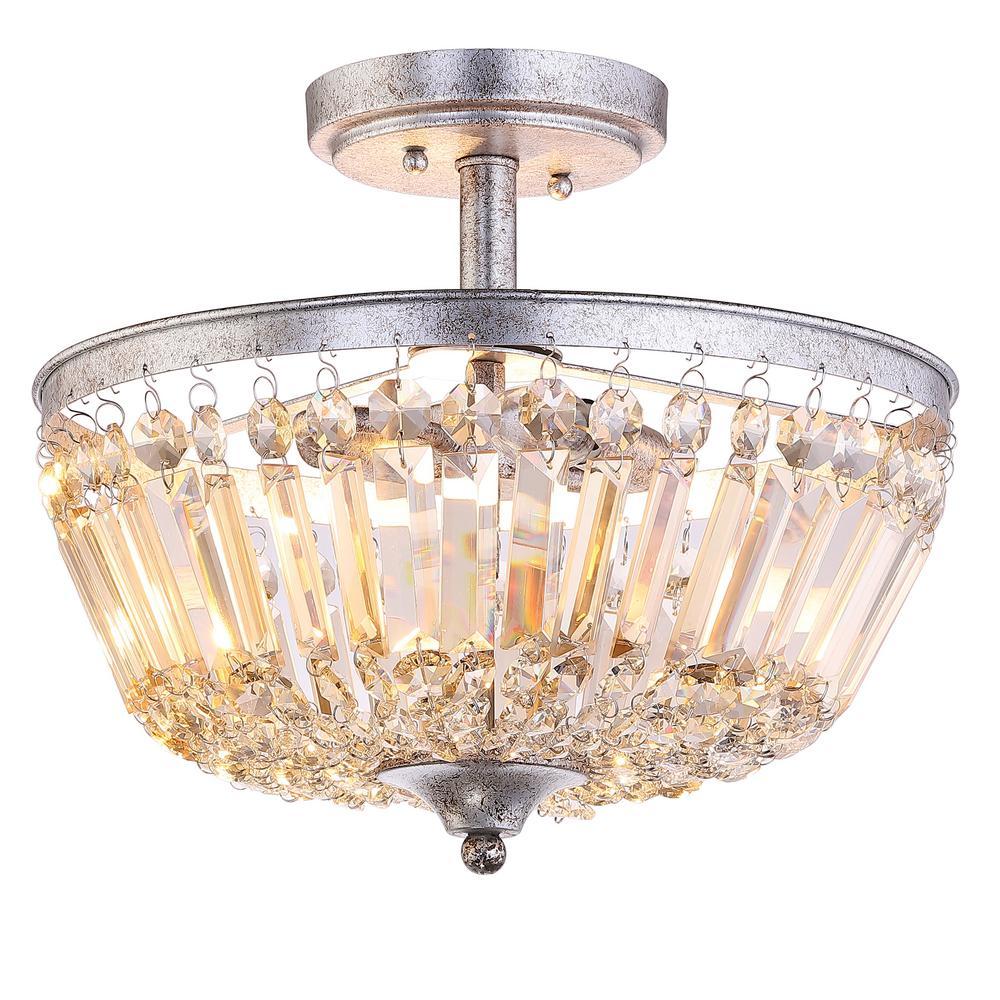 JONATHAN Y Caleb 14.2 in. 3-Light Crystal/Metal Semi-Flush Mount, Antique Silver/Amber