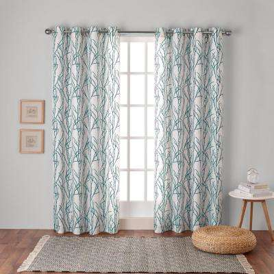 Branches 54 in. W x 96 in. L Linen Blend Grommet Top Curtain Panel in Teal (2 Panels)