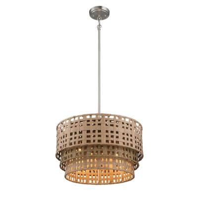 4-Light Brushed Nickel Pendant with Weathered Grey and Natural Rattan Shade