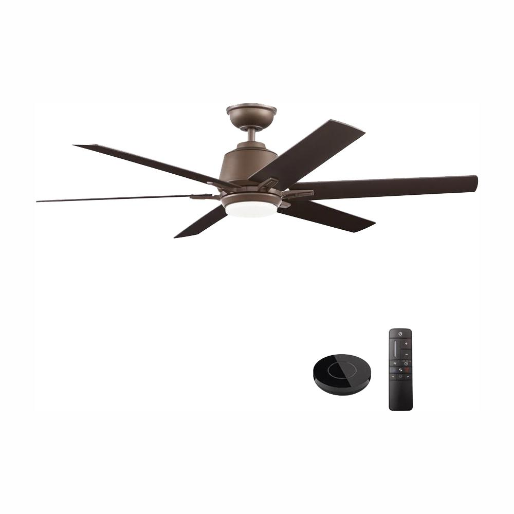 Home Decorators Collection Kensgrove 54 in. Integrated LED Indoor Espresso Bronze Ceiling Fan with Light Kit Works with Google Assistant and Alexa