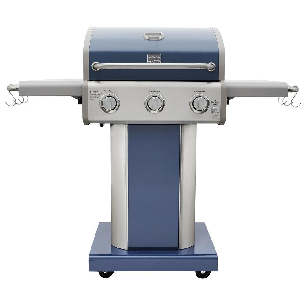 3-Burner Propane Gas Pedestal Grill with Foldable Side Shelves-Azure