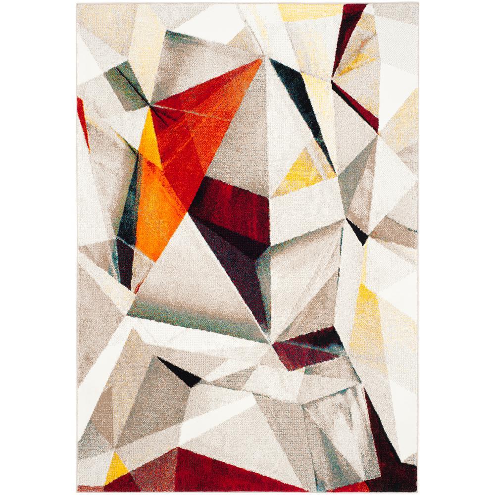 Safavieh Porcello Light Gray/Orange 8 ft. x 10 ft. Area Rug
