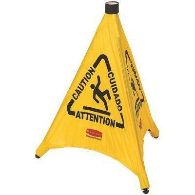 30 in. Safety Pop-up Multi Lingual Caution Cone in Yellow