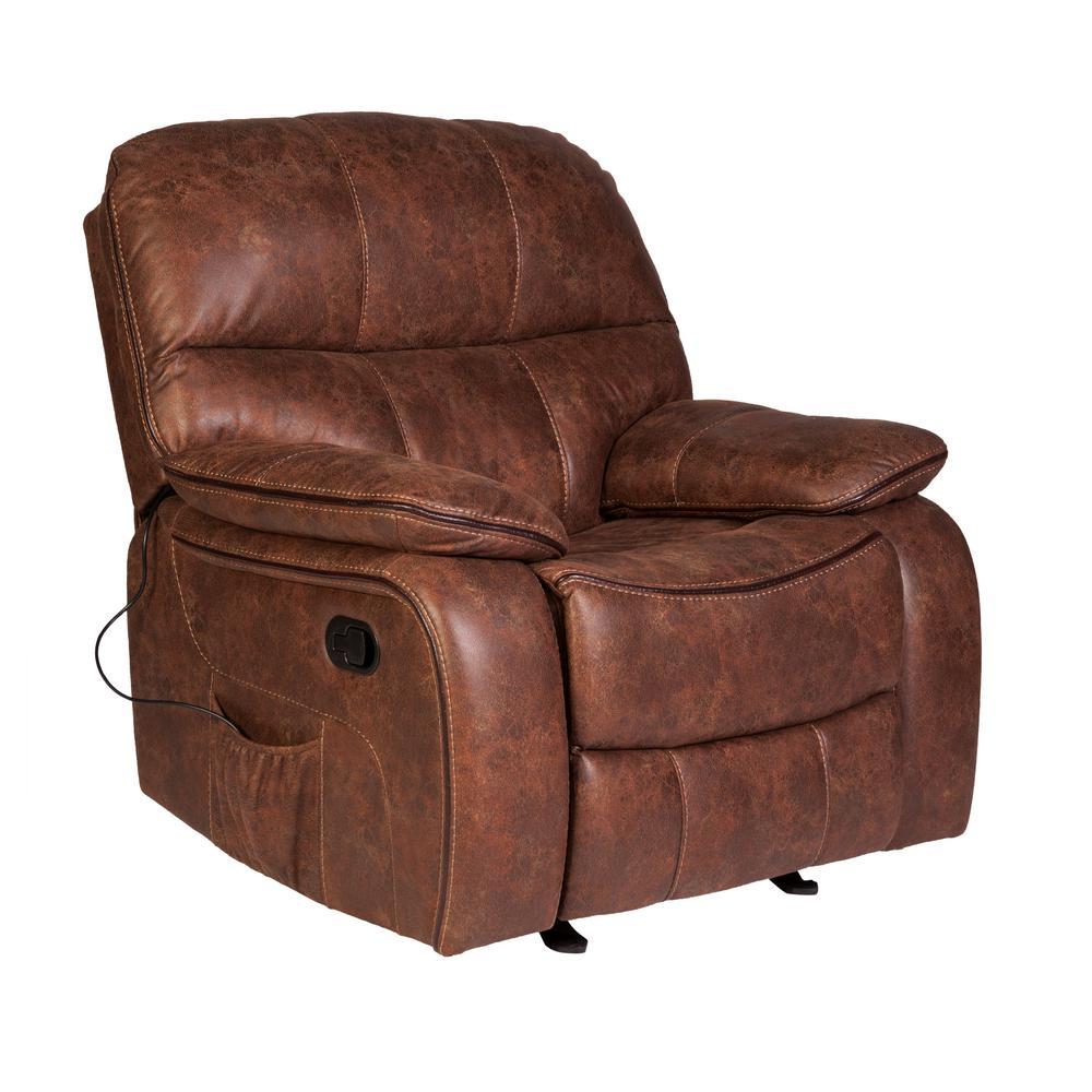 Wesson Saddle Brown Faux Leather Massage Rocker Recliner