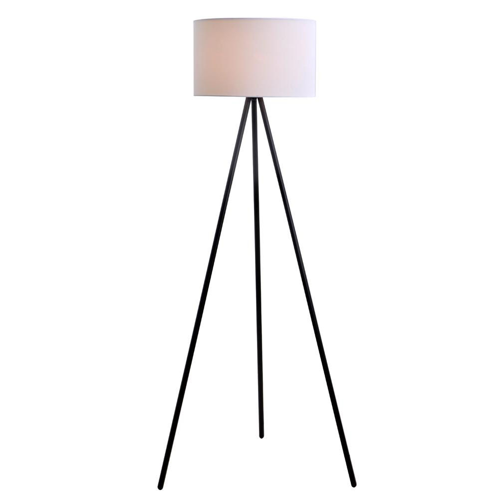 61.25 in. Black Metal Tripod Floor Lamp with Linen Shade