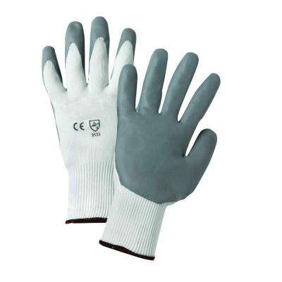Large Gray Lunar Foam Nitrile Palm Dip on White Nylon Shell Dozen Pair Gloves