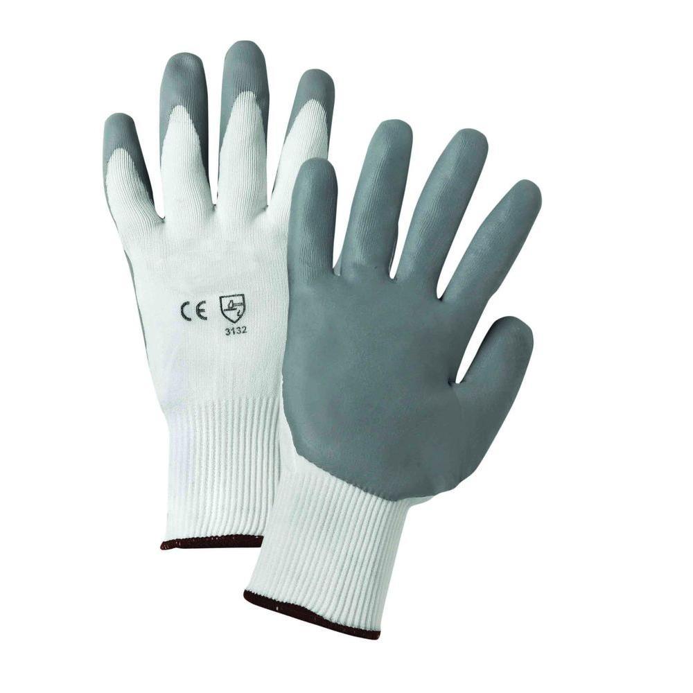 West Chester Medium Gray Lunar Foam Nitrile Palm Dip on White Nylon Shell Dozen Pair Gloves
