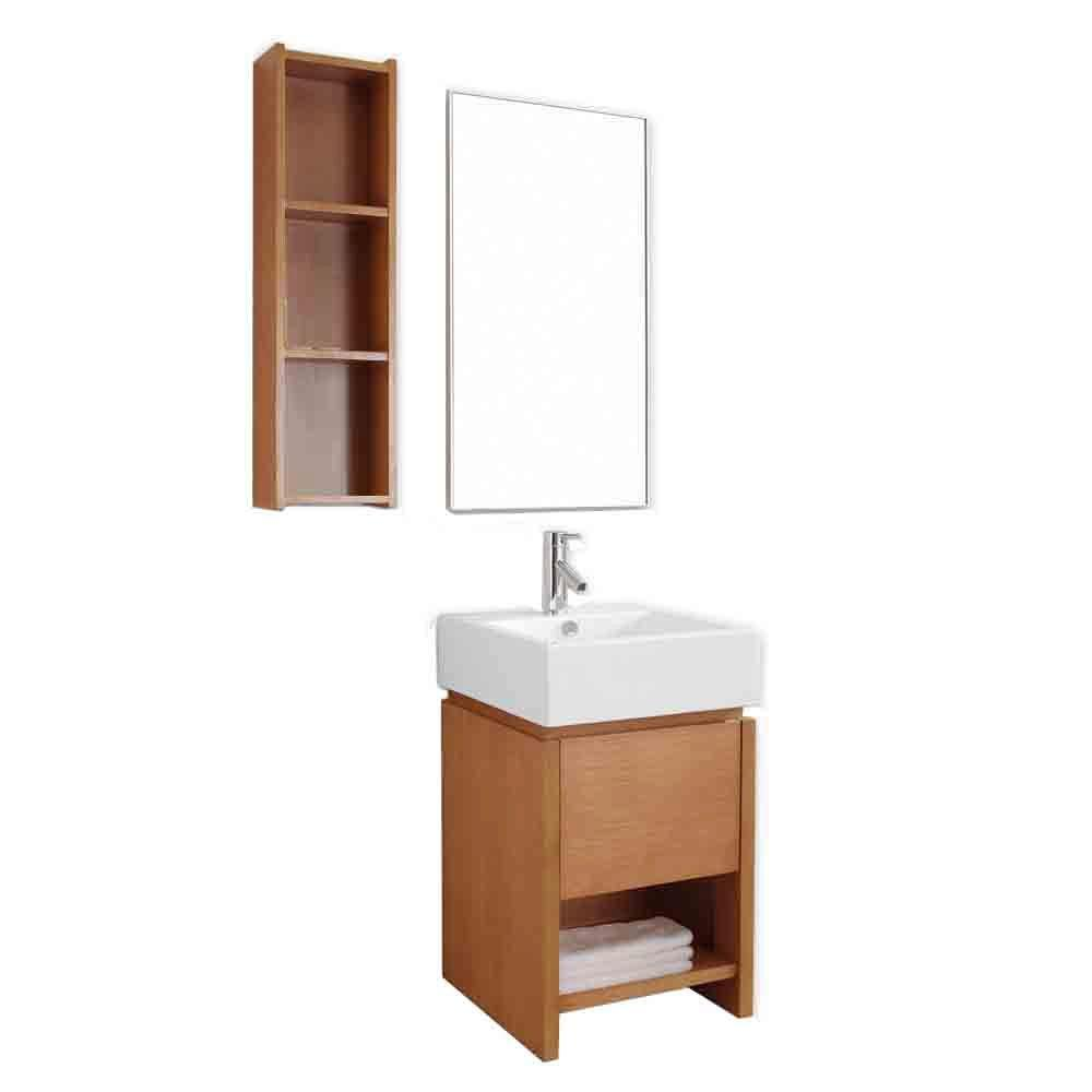 Virtu USA Curtice 20 in. Single Basin Vanity in Chestnut with Ceramic Basin and Counter Vanity Top in White and Mirror
