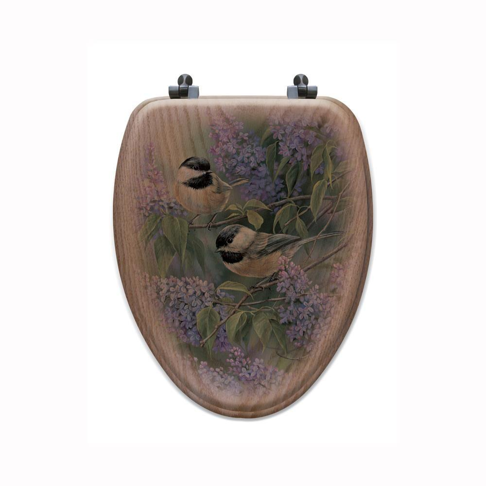 Chickadees and Lilac Elongated Closed Front Wood Toilet Seat in Oak