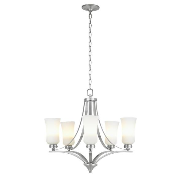 5 Light Chandelier Ceiling Fixture Hanging Frosted White Shade Brushed Nickel