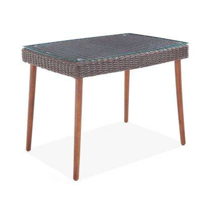 Athens Chocolate Brown Rectangular Wicker Outdoor Accent Table