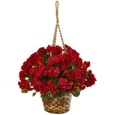 19 in. UV Resistant Indoor/Outdoor Geranium Hanging Basket Artificial Plant