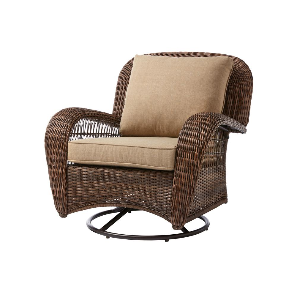 Hampton Bay Beacon Park Wicker Outdoor Swivel Lounge Chair With