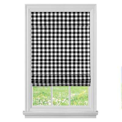 Black Cordless Light Filtering Easy Care Polyester Roman Shades 35 in. W x 64 in. L