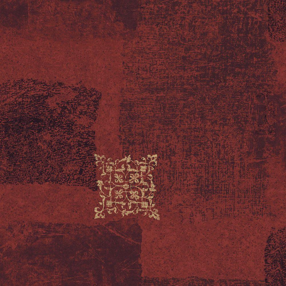 The Wallpaper Company 56 sq. ft. Red Jewel Tone Patchwork Scroll Wallpaper