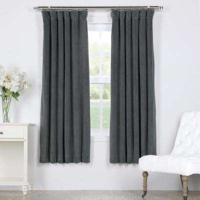 Signature Natural Grey Blackout Velvet Curtain - 50 in. W X 63 in. L (1 Panel)