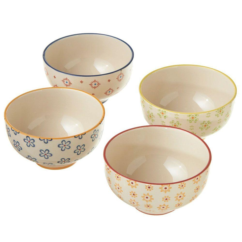 Filament Design Sundry Hand Painted 4-Piece Stoneware Multi Colored Bowls (Set of 4)-DISCONTINUED