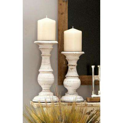 Wooden Distressed Finish Pillar Shaped White Candle Holder