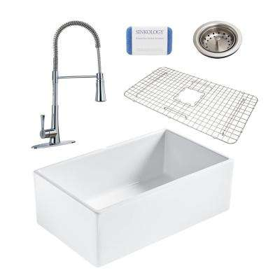 Bradstreet II All-in-One Farmhouse Fireclay 30 in. Single Bowl Kitchen Sink with Pfister Zuri Faucet and Drain