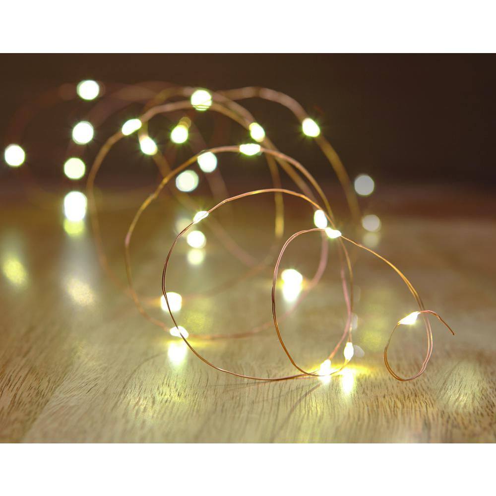 Hampton Bay 16 Ft Battery Ed 25 Bulb Copper Wire Indoor Outdoor String Light