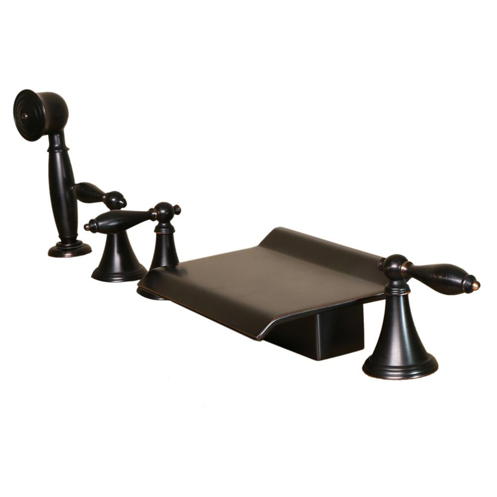 3-Handle Deck-Mount Roman Tub Faucet with Handshower in Oil Rubbed Bronze