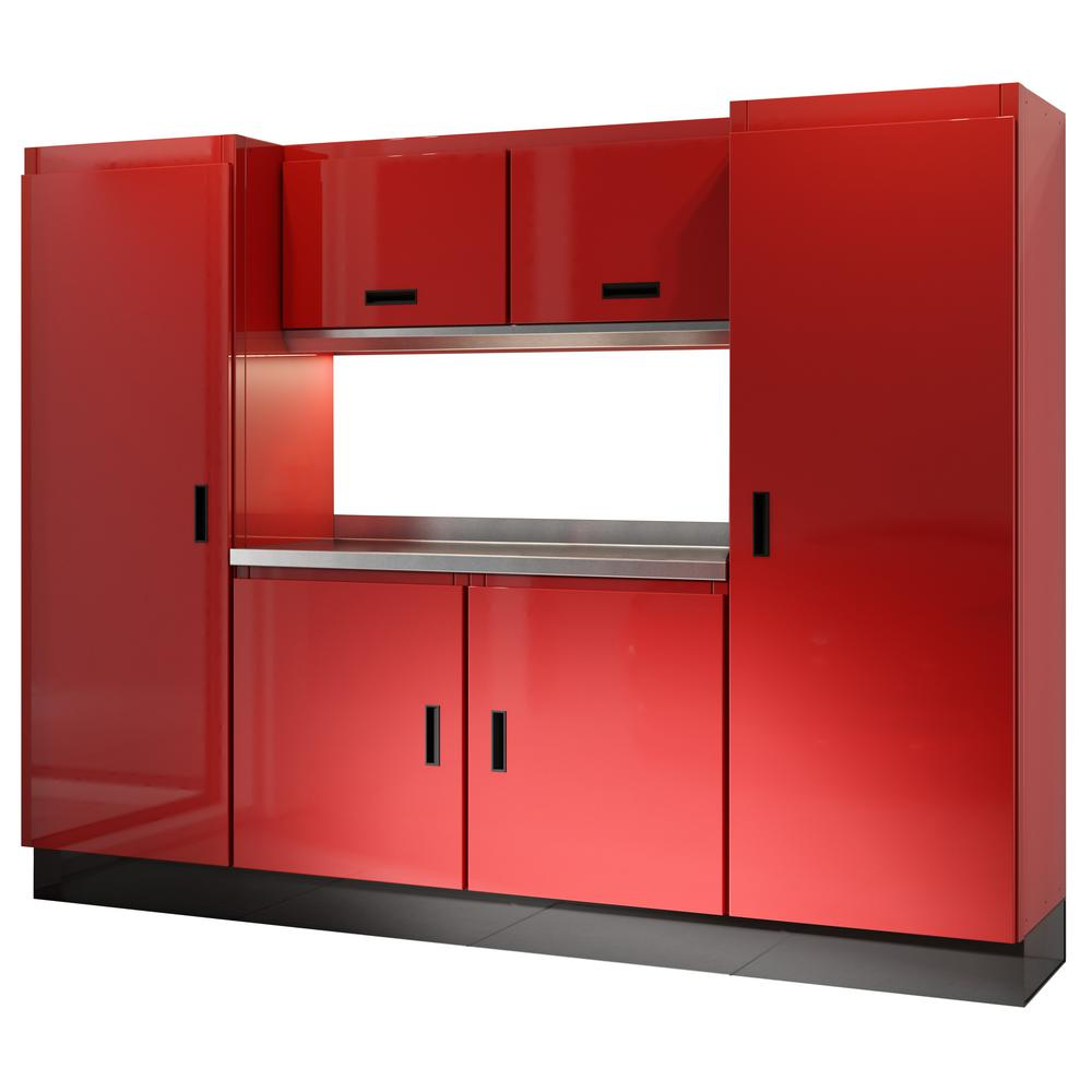 Moduline Select Series 75 in. H x 96 in. W x 22 in. D Aluminum Cabinet Set in Red with Stainless Steel Worktop (7-Piece)