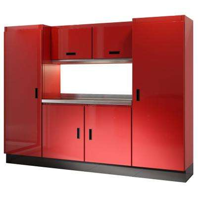 Select Series 75 in. H x 96 in. W x 22 in. D Aluminum Cabinet Set in Red with Stainless Steel Worktop (7-Piece)