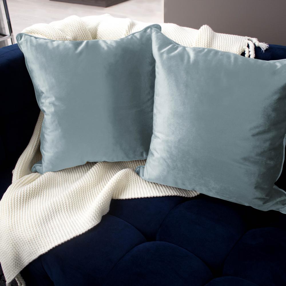 Lucas Velvet Harbor Grey Solid Polyester 20 in. x 20 in. Throw Pillow (Set of 2)