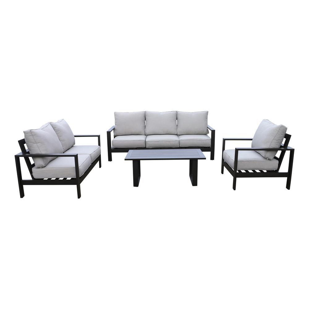 Atlantis 4-Piece Aluminum Patio Deep Seating Set with Olefin Beige Cushions