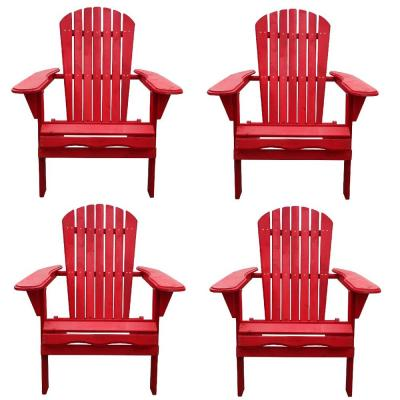 Classic Red Folding Wood Adirondack Chair (4-Pack)