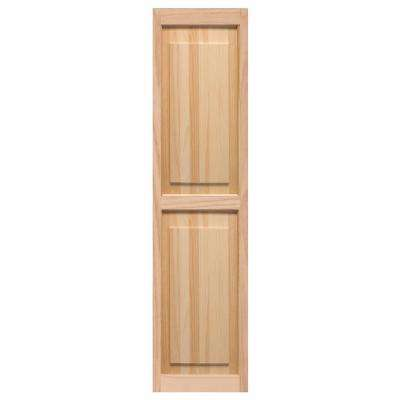 15 in. x 51 in. Pine Raised Panel Shutters Pair Unfinished