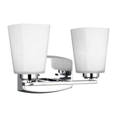 Waseca 2-Light Chrome Bath Light