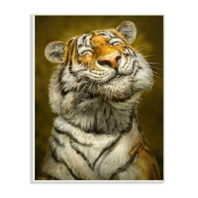 "10 in. x 15 in. ""Happy Tiger Funny Painting"" by Patrick LaMontagne Wood Wall Art"