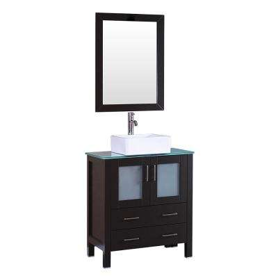 30 in. W Single Bath Vanity in Espresso with  Glass Vanity Top with White Basin and Mirror