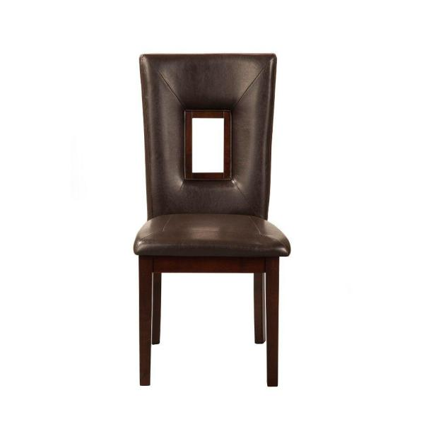 Brown Rubberwood Side Chairs with Leatherette Seat and Back (Set of 2)