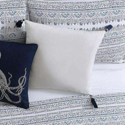 Reef Large Square Pillow in White and Blue