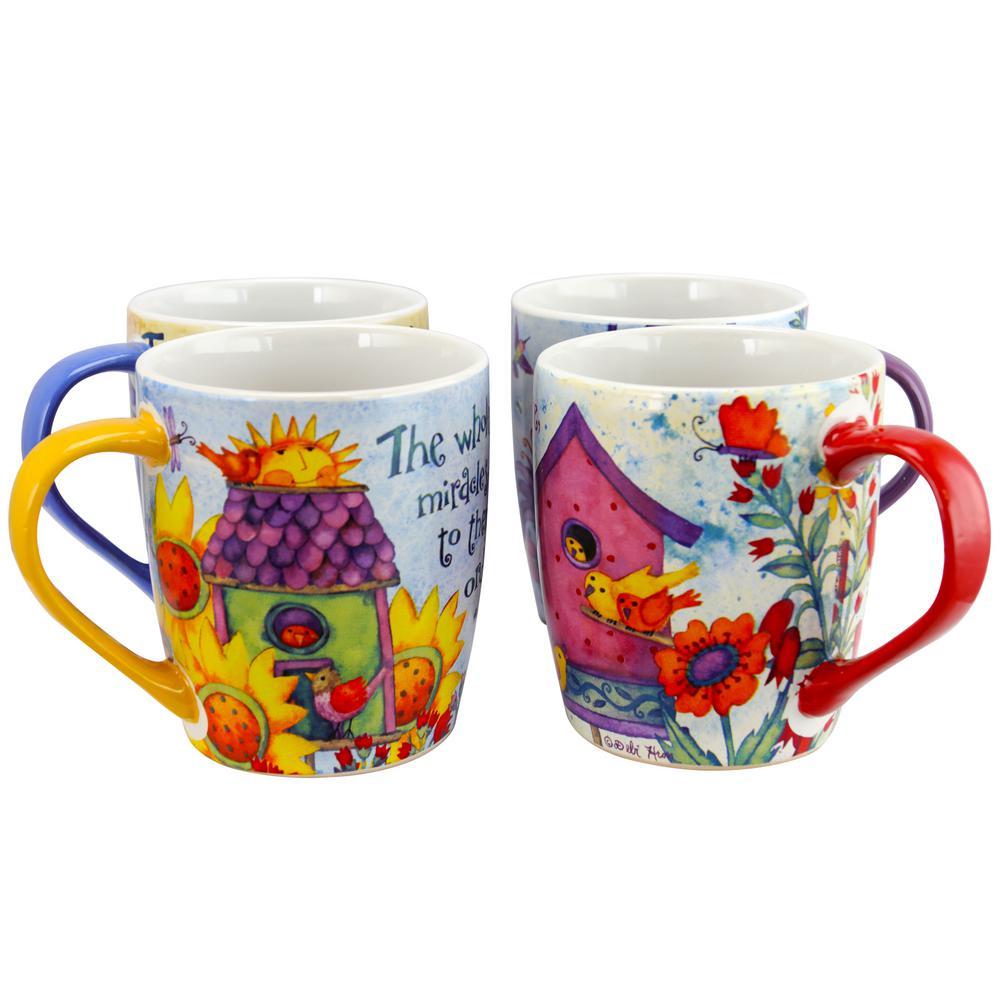 Birdhouse Floral Assorted Designs 18 oz. Cup (Set of 4)