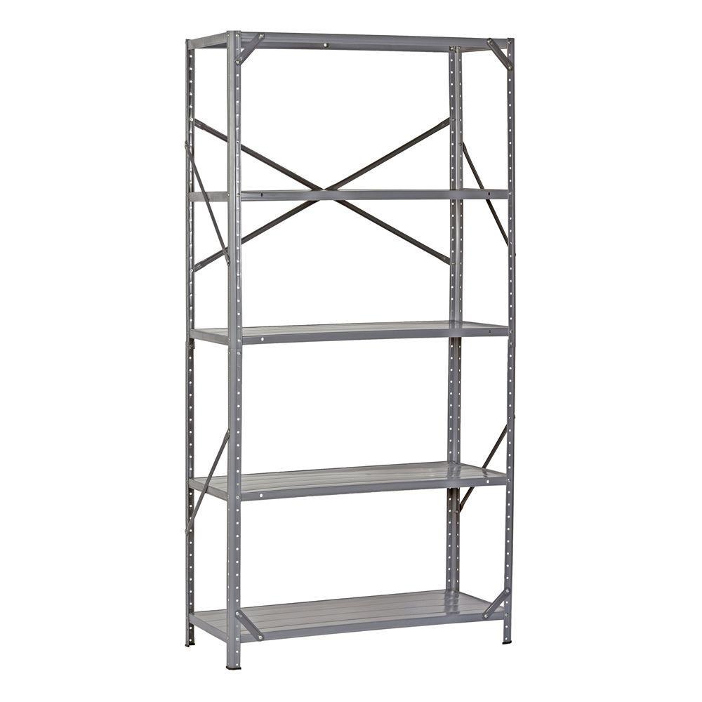 72 in. H x 36 in. W x 16 in. D 5-Shelf Steel Shelving Unit in Gray