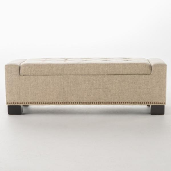 Noble House Explorer Wheat Beige Fabric Storage Bench with Studs 11659